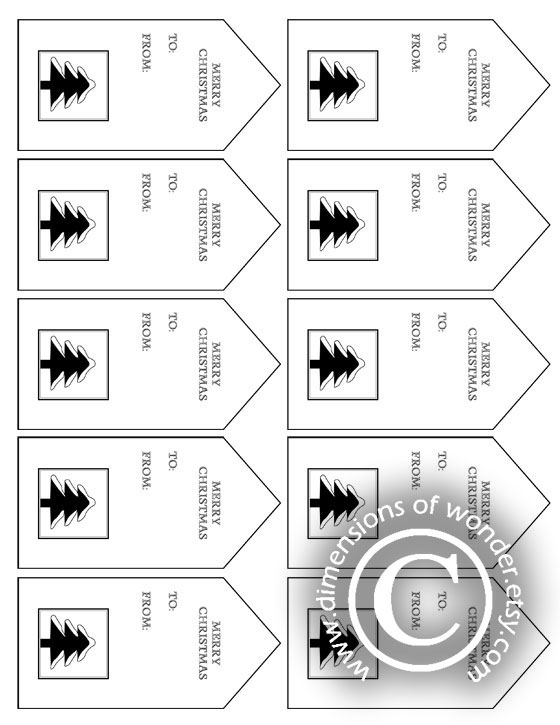 Free Printable Christmas Tags: Black & White - Dimensions of Wonder