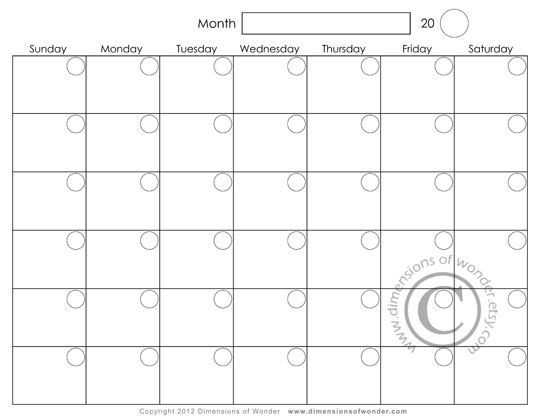 540 x 417 jpeg 30kB Monthly Calendars to Print and Fill Out
