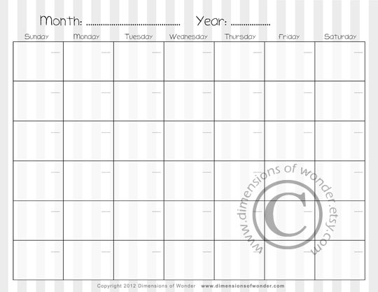 Free Printable Monthly Calendar n 2 by Dimensions of Wonder – Printable Monthly Calendars