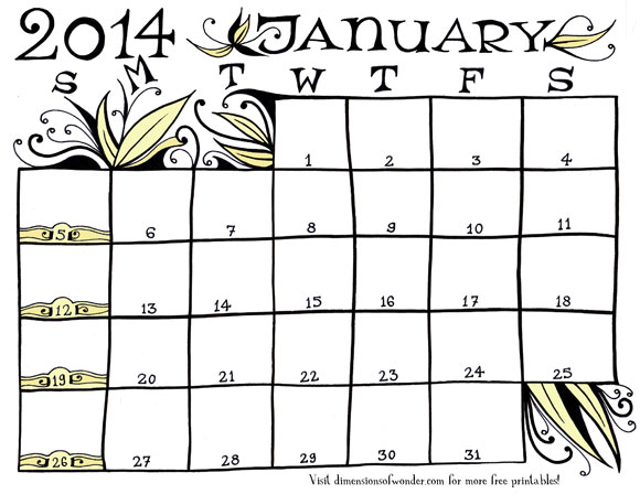 Free Printable Monthly Calendar January 2014 {Hand-Drawn