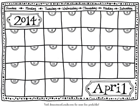 Free Printable Monthly Calendar April 2014 {Hand Drawn