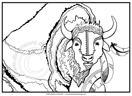 native american coloring pages printable buffalo tatanka - Native American Coloring Pages