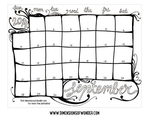 Free Printable Monthly Calendar September 2014 Hand Drawn
