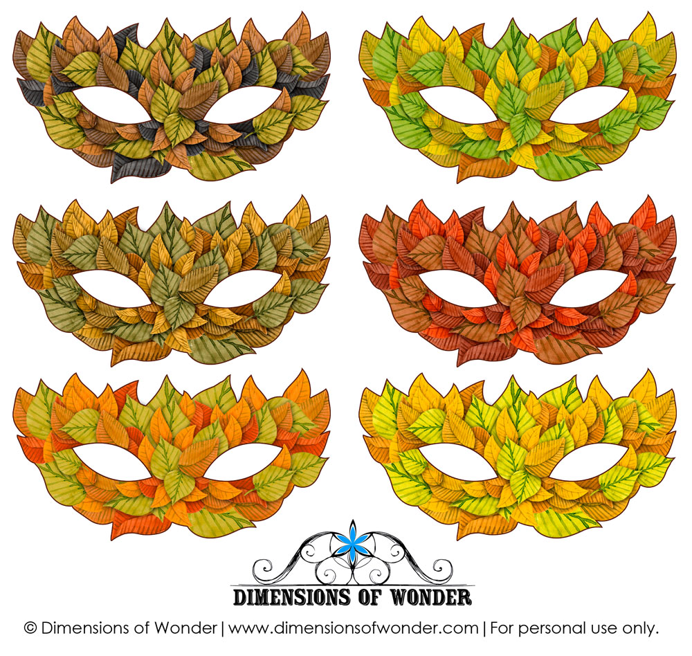 Printable Halloween Masks in Shades of Fall/Autumn Leaves ...