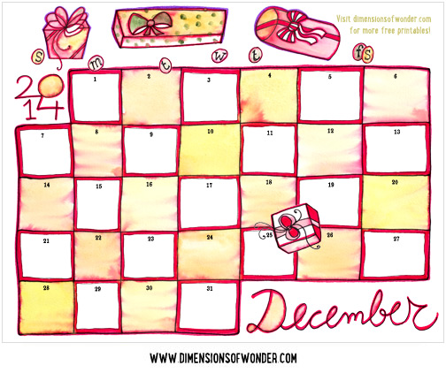 graphic about Printable Monthly Calendar December identify Absolutely free Printable Calendar December 2014 Hand Drawn